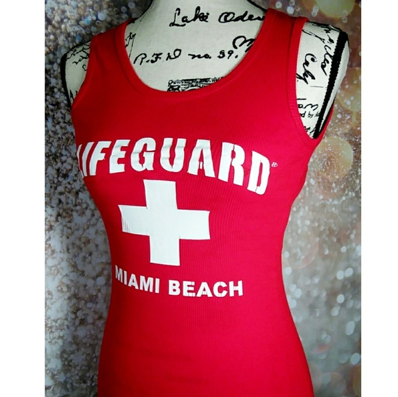 6b3c4c1a5fe15 Lifeguard Tops - Miami Beach Lifeguard tank top